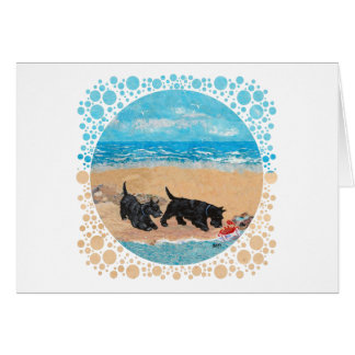 Two Scotties at the Beach Card
