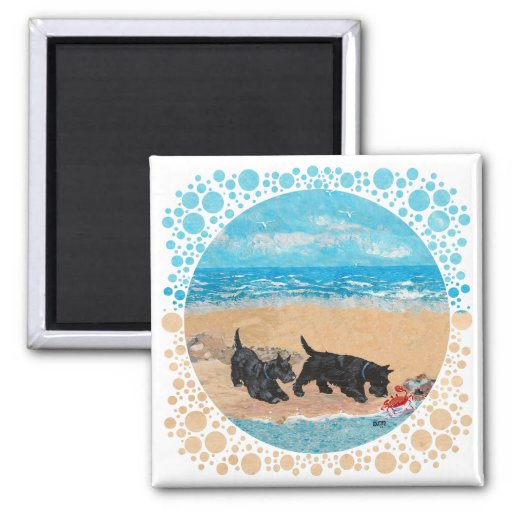 Two Scotties at the Beach Fridge Magnet