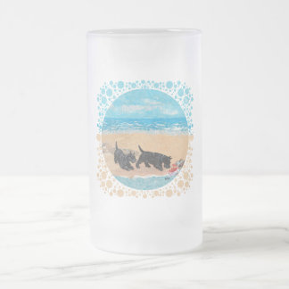 Two Scotties at the Beach Frosted Glass Beer Mug