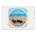 Two Scotties at the Beach Greeting Card