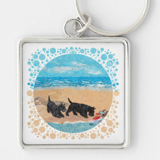 Two Scotties at the Beach Keychain