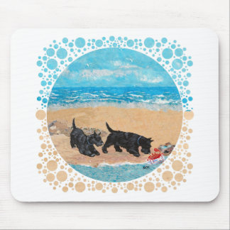 Two Scotties at the Beach Mouse Pad