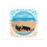 Two Scotties at the Beach Postcard
