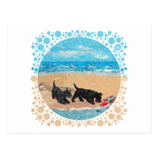 Two Scotties at the Beach Postcards