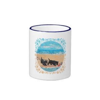 Two Scotties at the Beach Ringer Mug