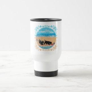 Two Scotties at the Beach Travel Mug