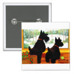 Two Scotty Dogs at Christmas 2 Inch Square Button