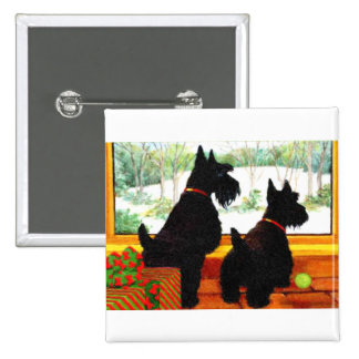 Two Scotty Dogs at Christmas Button