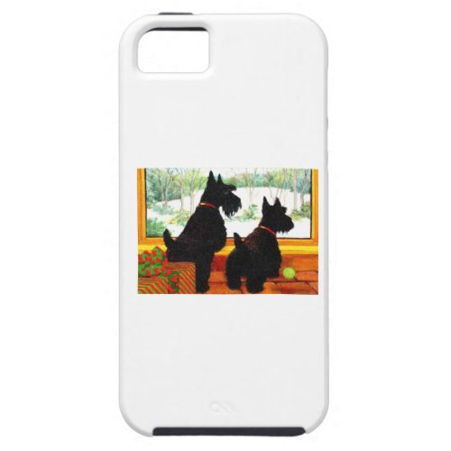 Two Scotty Dogs at Christmas iPhone SE55s Case