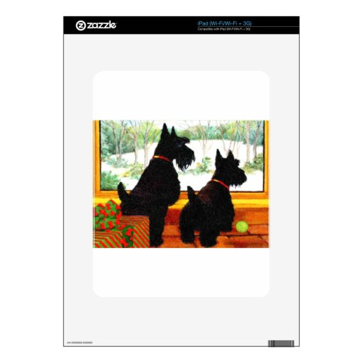Two Scotty Dogs at Christmas Decal For iPad