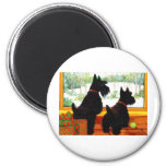 Two Scotty Dogs at Christmas Fridge Magnet