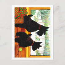 Two Scotty Dogs at Christmas Holiday Postcard