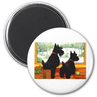 Two Scotty Dogs at Christmas Magnet