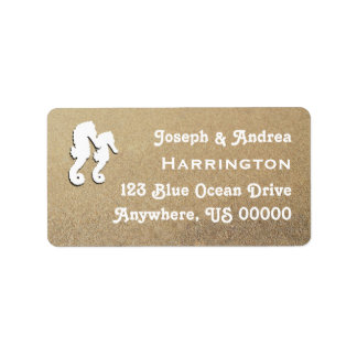 Two Sea Horses White Text Address Labels