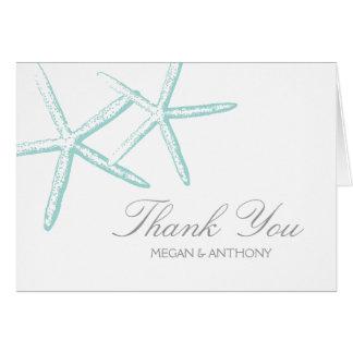Two Seafoam Green Starfish Wedding Thank You Card