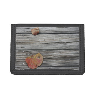 two seagrape leaves wooden dock trifold wallet