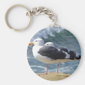 Two Seagulls Basic Round Button Keychain