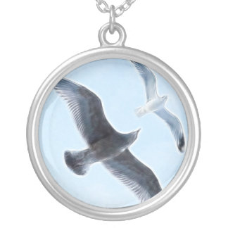 Two Seagulls Round Pendant Necklace
