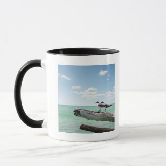 Two seagulls sitting on a dead tree sticking out mug