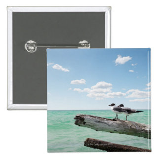 Two seagulls sitting on a dead tree sticking out pinback button
