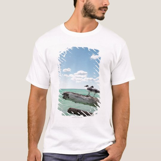 Two seagulls sitting on a dead tree sticking out T-Shirt