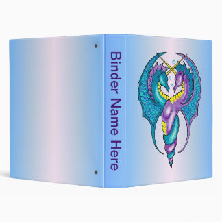 Two Seahorse Dragons Sketched in Blue and Purple 3 Ring Binder