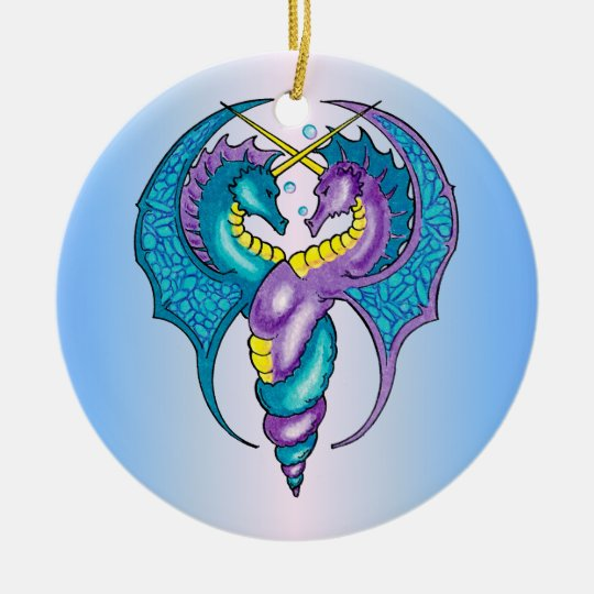 Two Seahorse Dragons Sketched in Blue and Purple Ceramic Ornament