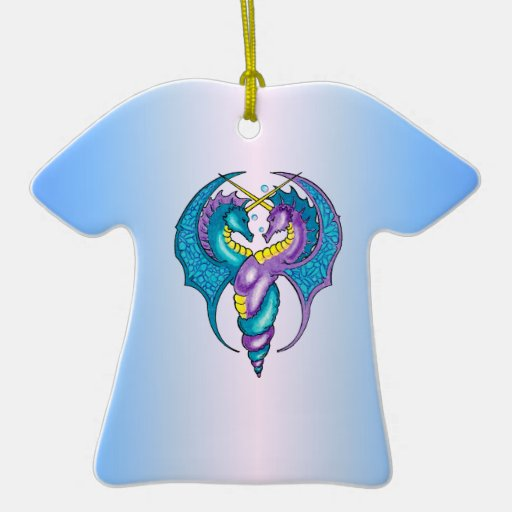 Two Seahorse Dragons Sketched in Blue and Purple Double-Sided T-Shirt Ceramic Christmas Ornament