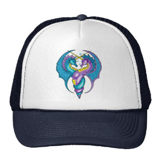 Two Seahorse Dragons Sketched in Blue and Purple Trucker Hat