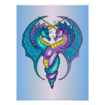 Two Seahorse Dragons Sketched in Blue and Purple Posters