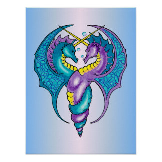 Two Seahorse Dragons Sketched in Blue and Purple Poster