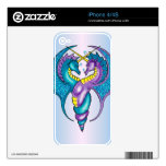 Two Seahorse Dragons Sketched in Blue and Purple iPhone 4 Decal