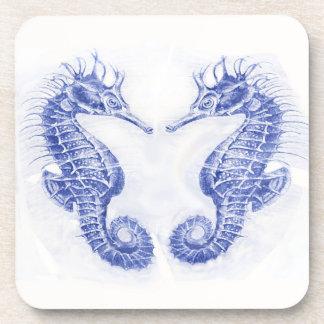 two seahorses-blue coasters