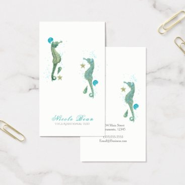 Beach Themed Two Seahorses Watercolor Beach Elegant Chic Business Card