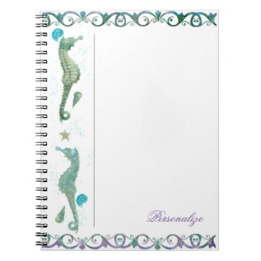 Beach Themed Two Seahorses Watercolor Beach Elegant Custom Spiral Notebook