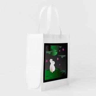 """Two Seasons"" Moon Bunny reusable shopping bag Market Totes"