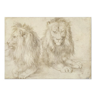 Two Seated Lions by Albrecht Durer Card
