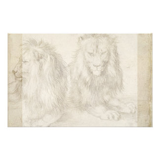 Two Seated Lions by Albrecht Durer Flyer