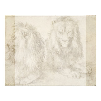Two Seated Lions by Albrecht Durer Personalized Flyer