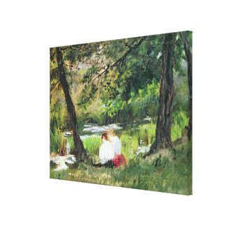 Two Seated Women Stretched Canvas Prints