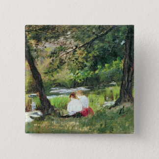 Two Seated Women Pinback Button