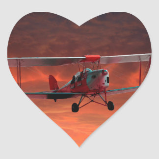 Two seater Tigermoth Heart Sticker