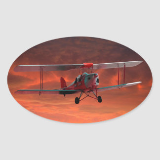 Two seater Tigermoth Oval Sticker