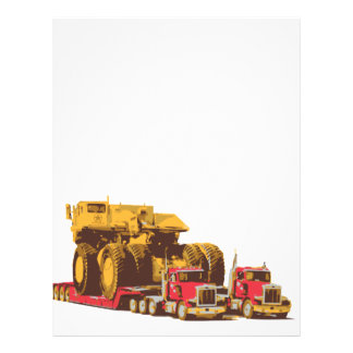 Two Semi Big Trucks carrying a Huge Mining Truck Letterhead