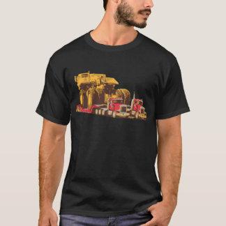 Two Semi Big Trucks carrying a Huge Mining Truck T-Shirt