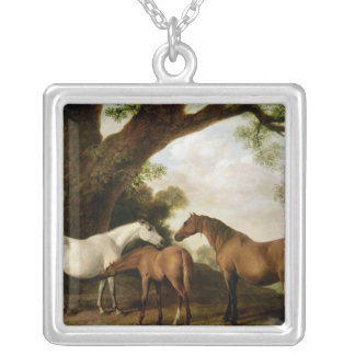 Two Shafto Mares and a Foal, 1774 Square Pendant Necklace