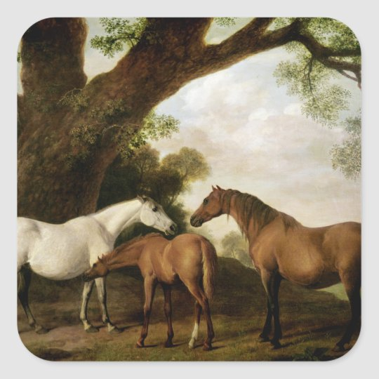 Two Shafto Mares and a Foal, 1774 Square Sticker