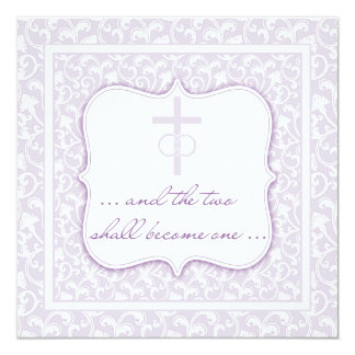 Two Shall Become One Christian Wedding Lavender Card
