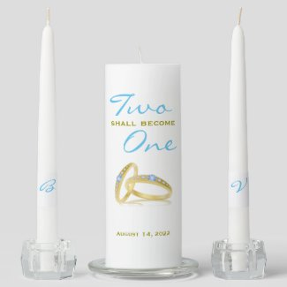 Two Shall Become One Wedding Unity Candle Set