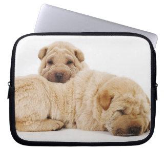 Two Shar Pei puppies sleeping, studio shot Computer Sleeves